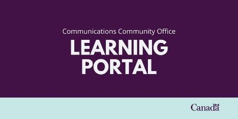 Graphic with white letters on a purple background that read: Communications Community Office, Learning Portal